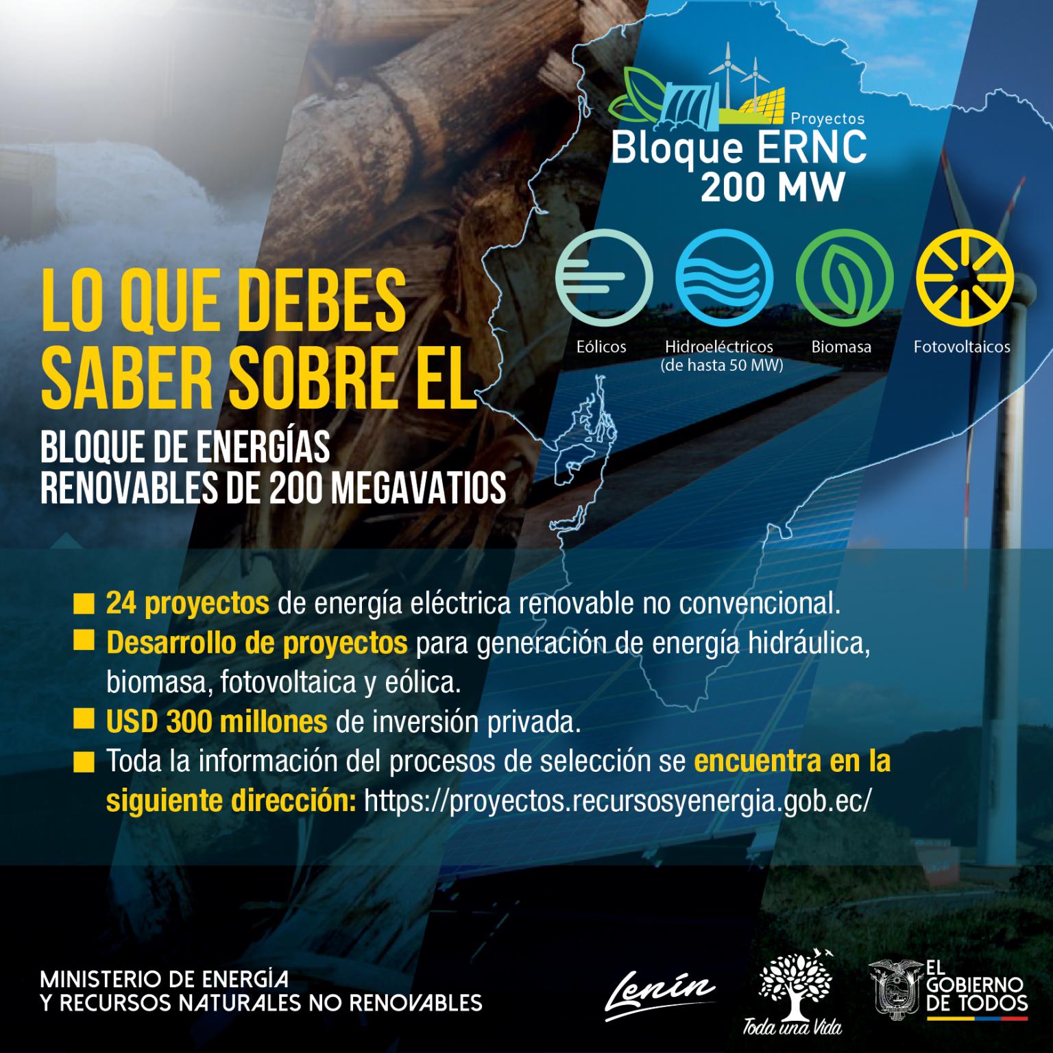 Ecuador oferta al sector privado el desarrollo de bloque de energías renovables de 200 megavatios