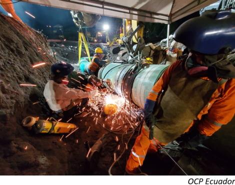 OCP Ecuador concluye reparación de oleoducto y levanta fuerza mayor