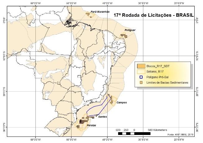 Áreas por ofertar en 17ª ronda de petróleo y gas en Brasil