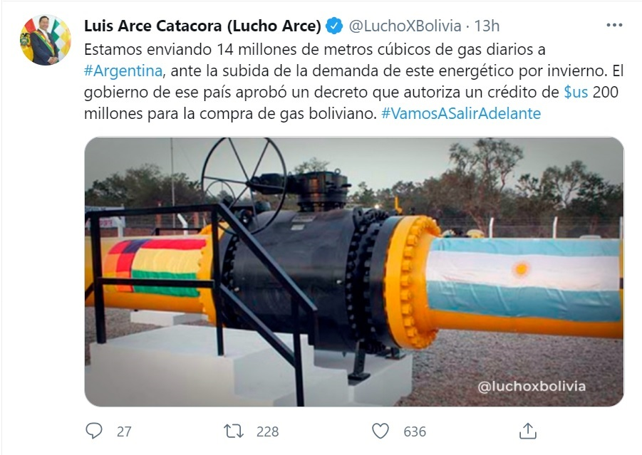 YPFB incrementa envío de gas a Argentina de 11 MMm3 a 14 MMm3 por día