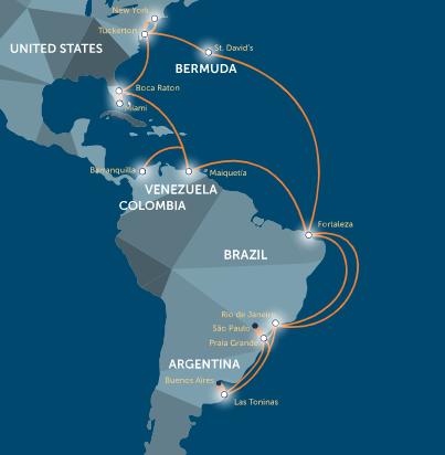 GlobeNet resta importancia a la competencia en rutas de cables submarinos del Atlántico