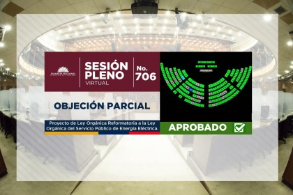 Ecuador's Assembly will send amendments to the Electric Power Law to the Official Registry