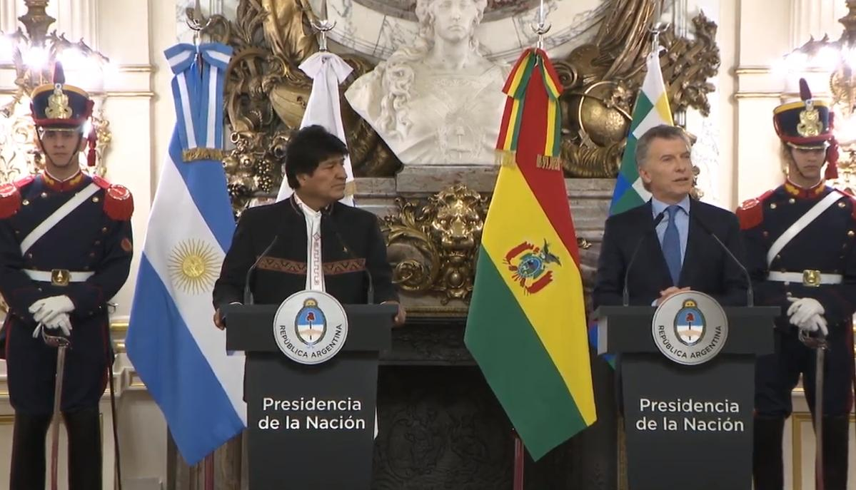 Joint statement by President Mauricio Macri and the president of the Plurinational State of Bolivia, Evo Morales, at Casa Rosada