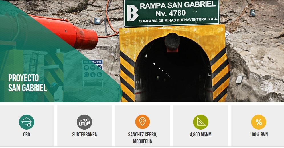 Peruana Buenaventura programa inicio de construcción de San Gabriel para 1T