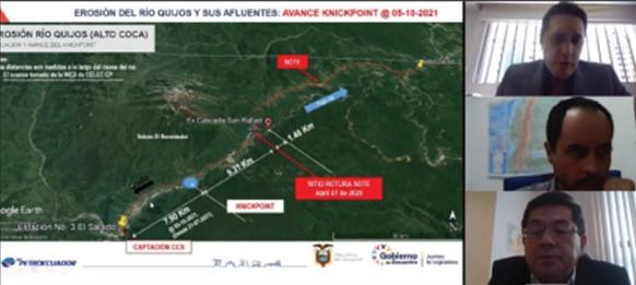 Instituciones del sector energético analizaron las acciones para mitigar el riesgo frente a la erosión regresiva del Río Coca