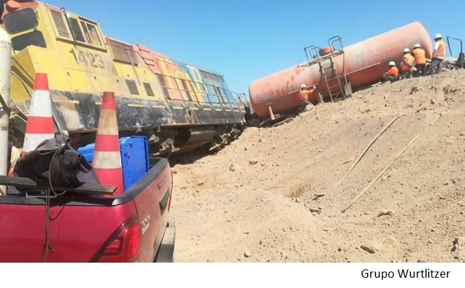 Copper train derails in Antofagasta