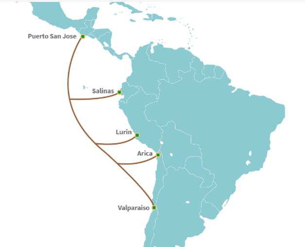 America Móvil-Telxius South Pacific cable lands in Arica, Chile